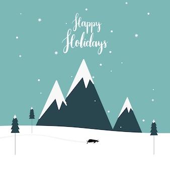 Vetor de design de cartão postal com tema de inverno