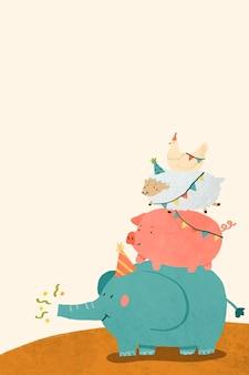 Vetor de design de celebração animal doodle