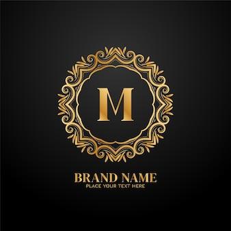 Vetor de design de conceito de logotipo de marca de luxo letra m