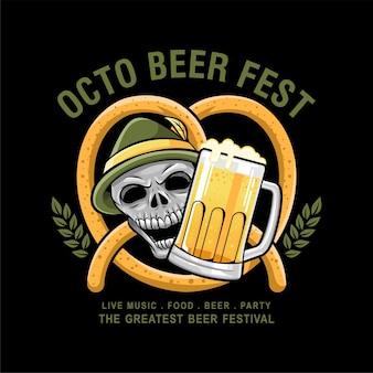 Vetor de design de crânio de festival de cerveja octo Vetor Premium