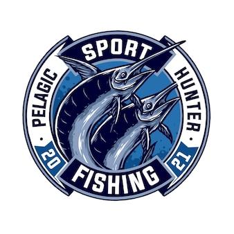 Vetor de design de distintivo vintage de peixe-espada