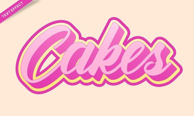 Vetor de design de efeito de texto de bolos