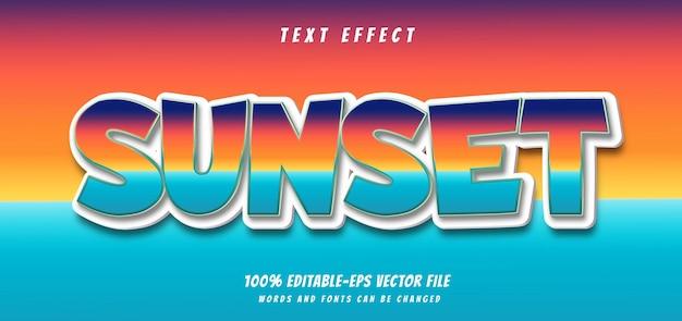Vetor de design de efeito de texto do pôr do sol