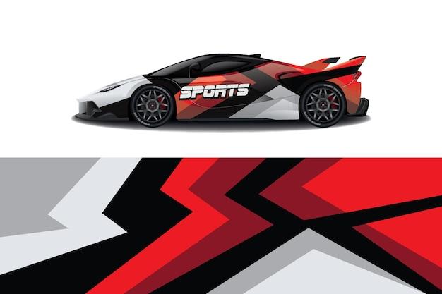Vetor de design de embalagem de decalque de carro esporte