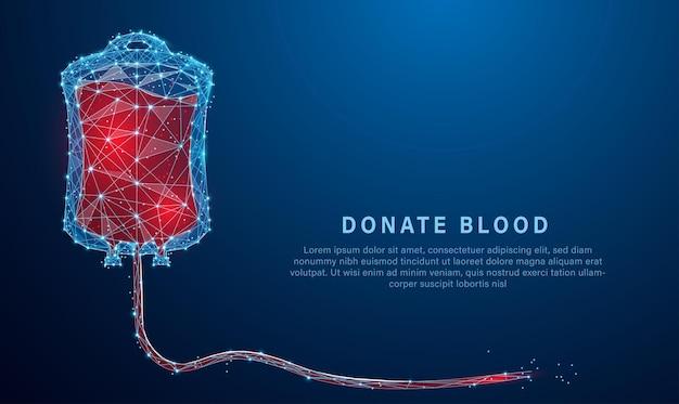 Vetor de design de estilo poli baixo de uma bolsa de doação de sangue estrutura de conexão de luz em estrutura de arame consiste
