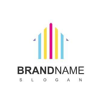 Vetor de design de ícone de pintura de casa de logotipo de imóveis