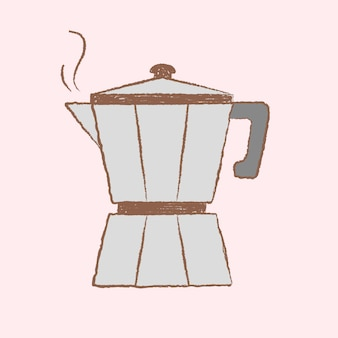 Vetor de design de ilustração, café e padaria moka pot café