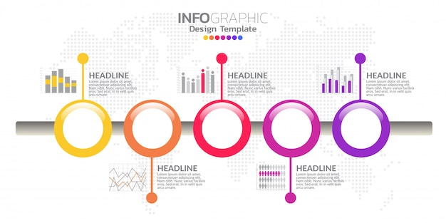 Vetor de design de infográfico cronograma de cinco etapas e ícones