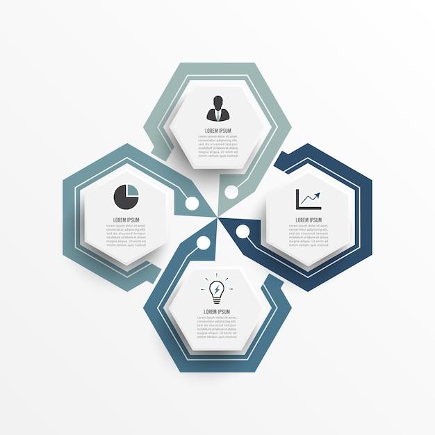 Vetor de design de infográfico e ícones de marketing podem ser usados para layout de fluxo de trabalho, diagrama