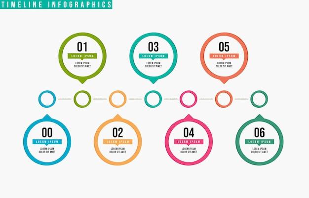 Vetor de design de infográficos de linha do tempo com 6 etapas