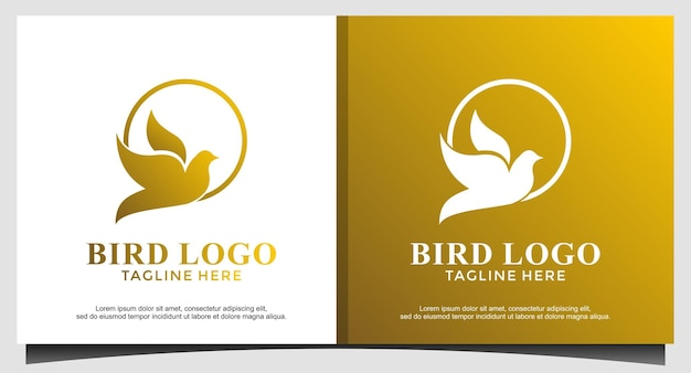 Vetor de design de logotipo animal pássaro voar