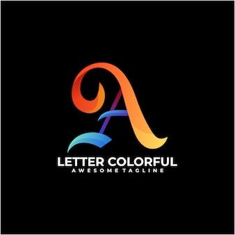 Vetor de design de logotipo colorido de carta
