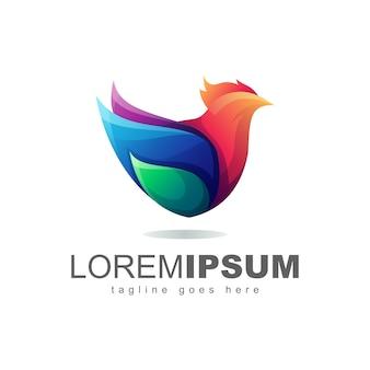 Vetor de design de logotipo colorido de galinha