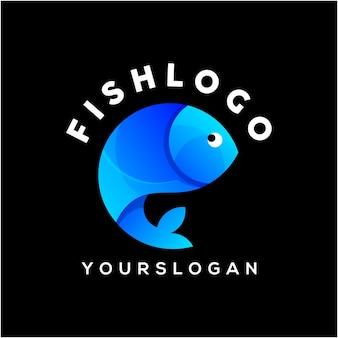 Vetor de design de logotipo colorido de peixes criativos