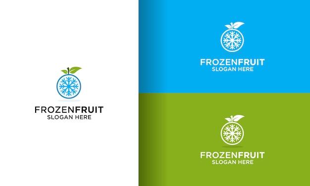 Vetor de design de logotipo congelado de frutas simples