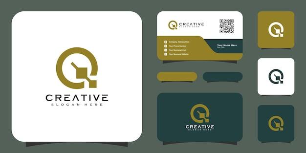Vetor de design de logotipo da letra q inicial e cartão de visita