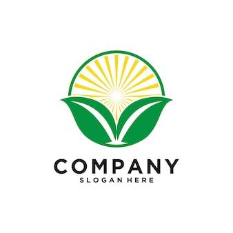 Vetor de design de logotipo da natureza da folha