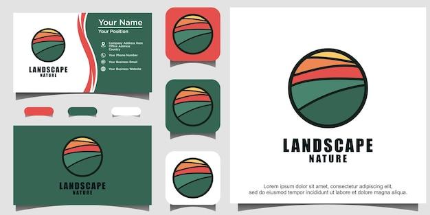 Vetor de design de logotipo de agricultura de natureza da paisagem
