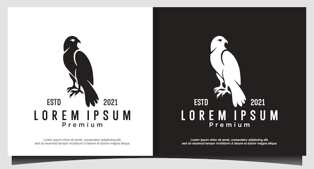 Vetor de design de logotipo de águia falcão