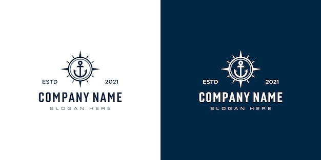 Vetor de design de logotipo de âncora e bússola