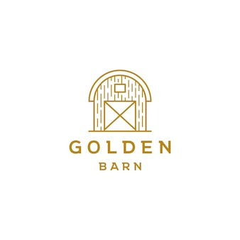 Vetor de design de logotipo de arte de linha de celeiro dourado