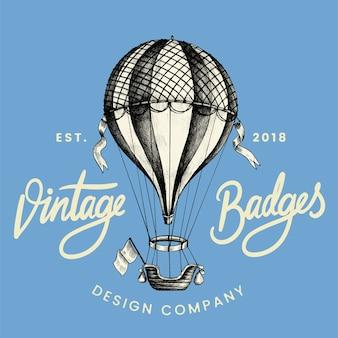 Vetor de design de logotipo de balão vintage