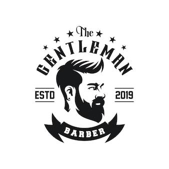Vetor de design de logotipo de barbearia incrível