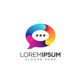 Vetor de design de logotipo de bate-papo