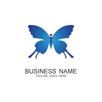 Vetor de design de logotipo de borboleta vintage de mulheres voadoras de beleza