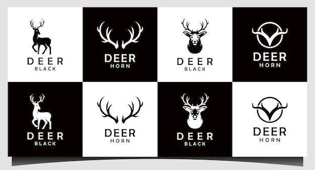 Vetor de design de logotipo de caçador de cervos