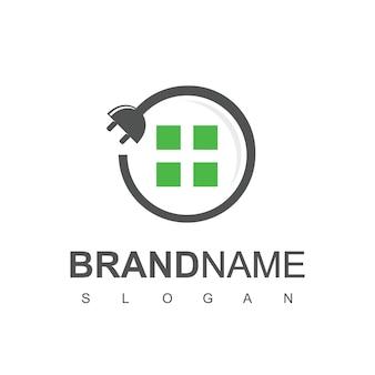 Vetor de design de logotipo de casa elétrica, cabo circular e símbolo de plugue