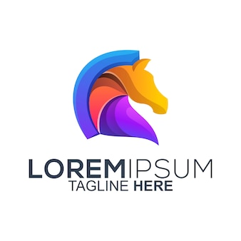 Vetor de design de logotipo de cavalo colorido