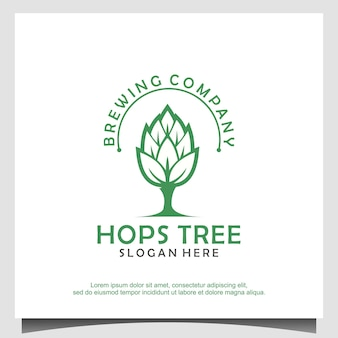 Vetor de design de logotipo de cervejaria de árvore de lúpulo