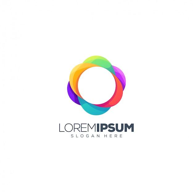 Vetor de design de logotipo de círculo colorido
