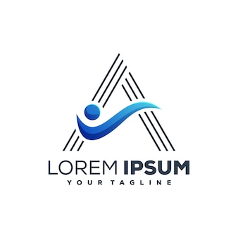 Vetor de design de logotipo de cor azul de advocacy