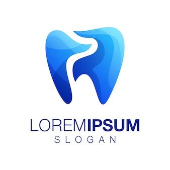 Vetor de design de logotipo de cor gradiente de dente