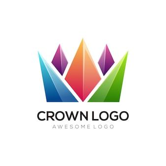 Vetor de design de logotipo de coroa moderno colorido
