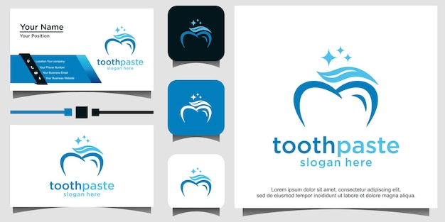 Vetor de design de logotipo de dente com pasta de dente
