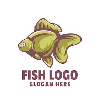 Vetor de design de logotipo de desenho animado de peixe