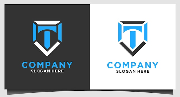 Vetor de design de logotipo de emblema de letra t