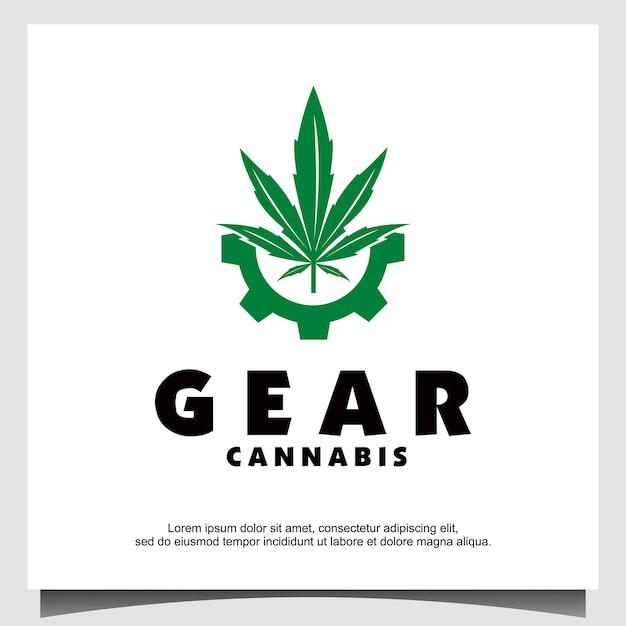Vetor de design de logotipo de engrenagem e cannabis