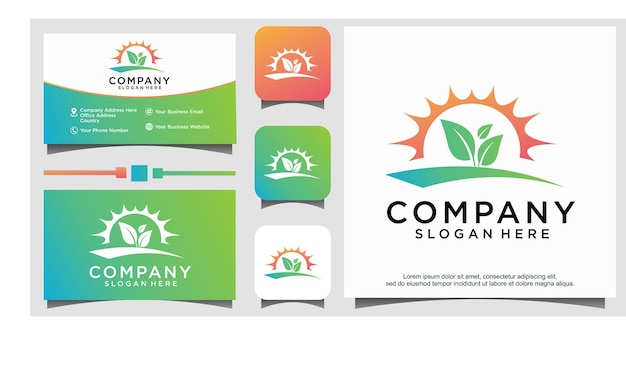 Vetor de design de logotipo de fazenda de jardim