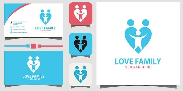 Vetor de design de logotipo de felicidade familiar com fundo de modelo de cartão de visita