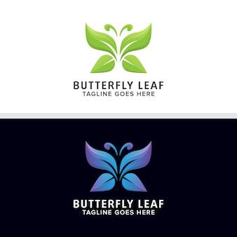 Vetor de design de logotipo de folha de borboleta abstrata