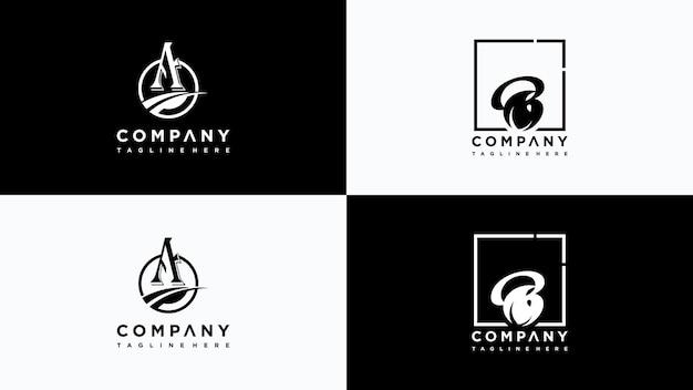 Vetor de design de logotipo de folha letra ab