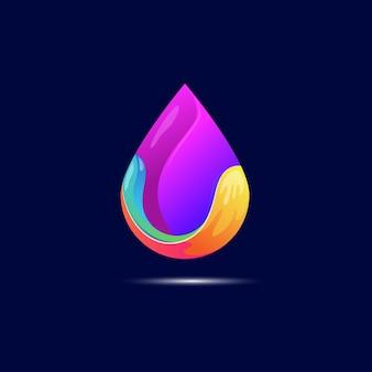 Vetor de design de logotipo de gota d'água colorida