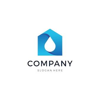 Vetor de design de logotipo de gota em casa