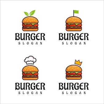 Vetor de design de logotipo de hambúrguer Vetor Premium