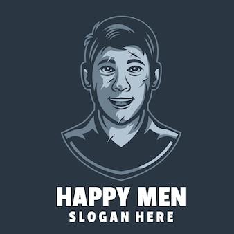 Vetor de design de logotipo de homens felizes