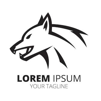 Vetor de design de logotipo de ícone de cabeça de lobo